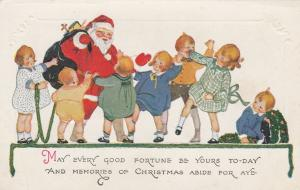 Santa Claus Greeting Children - Good Fortune and Memories of Christmas - DB