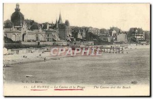 Old Postcard Le Havre Casino And Beach