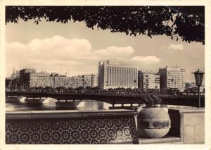 1961 RP Postcard CAIRO Shepheards and Semiramis Hotel & Tahrir Bridge EGYPT