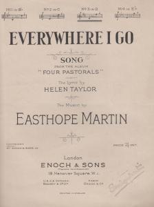 Everywhere I Go Easthope Martin 1920s Sheet Music