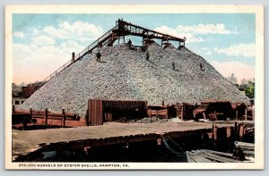 Hampton Virginia~Men Climb on Huge Oyster Shells Pile by Packing Plant~Dock~1915