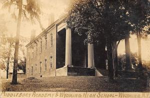Wyoming NY Thick Corrugated Columns on Middlebury Academy Next to HS RPPC 1910