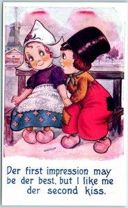 1910s BAMFORTH Greetings Postcard Dutch Boy & Girl Der first Impression UNUSED