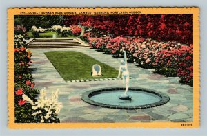Portland OR, Sunken Rose Garden, Lambert Gardens, Linen Oregon Postcard