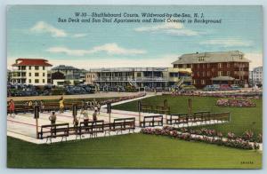 Postcard NJ Wildwood By The Sea Sun Deck Dial Apartments Shuffleboard Courts N17