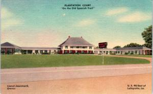 LAFAYETTE, LA Louisiana  PLANTATION  COURT   c1940s Roadside Linen  Postcard