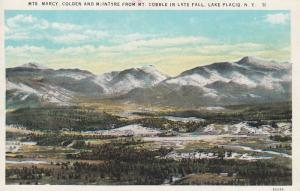 LAKE PLACID, New York, 1930-40s; Mts. Marcy, Colden and McIntyre from Mt. Cob...