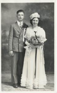 Young Man & Woman, Bride & Groom? ~ Studio Portrait   RPPC c1920s-40s Postcard