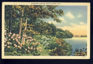 Rutland, Vermont/VT Postcard, Scenic View Of Flowers & Trees Along Lake, 1938!