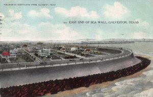 East End of Sea Wall, Galveston, Texas, Early Postcard, Used in 1909