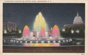 Washington D C Illuminated Fountain On Capitol Plaza 1939