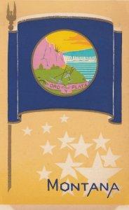 MONTANA , State Flag , 40-50s ; Serigraph