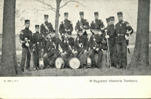 Dutch 9th Regiment Infantry Drummers, Military Music Band (1907) Stamp