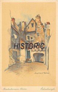 EDINBURGH SCOTLAND~BAKEHOUSE CLOSE~MARJORIE BATES ARTIST DRAWN POSTCARD