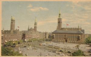 Raadhuspladsen Townhall Square Denmark Old Postcard