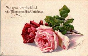 Vintage Postcard Christmas Roses San Francisco California 2 Cent Stamp 1806
