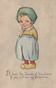 VALENTINE´S DAY ; 1900-10s; Dutch child, I'll heal teh wounds of love divine