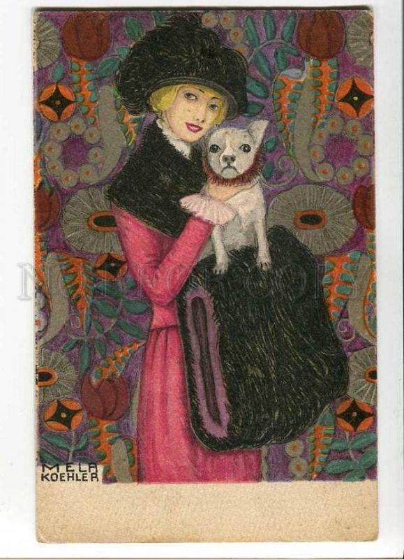 276580 Mela KOEHLER Lady FRENCH BULLDOG Art Nouveau BKWI #621