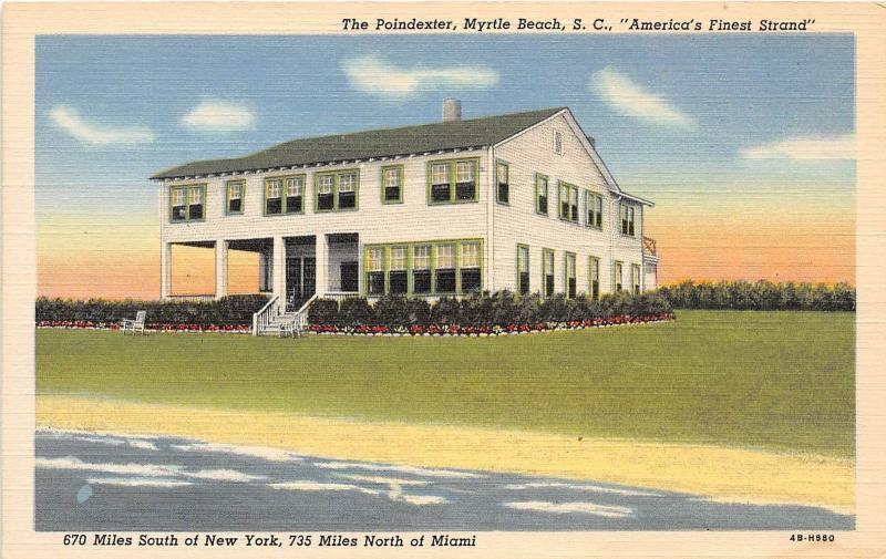 B53 Myrtle Beach South Carolina Sc Postcard Linen The Poindexter Hotel
