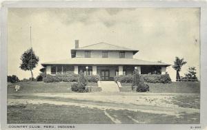 Peru Indiana~Country Club Building~1930s Silver Border Postcard