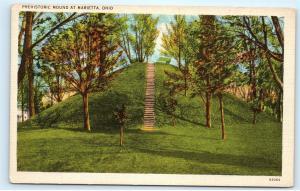 Famous Indian Mount Cemetery MARIETTA OHIO prehistoric burials Postcard A82