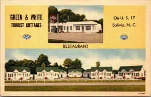 2 Views AMOCO Gas Station at Green & White Tourist Cottages Bolivia NC Postcard
