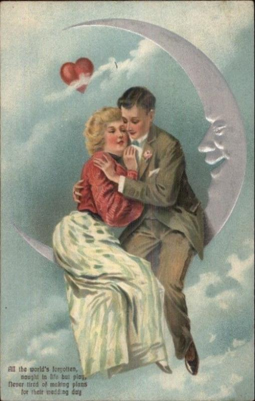 PFB Crescent Moon Man in the Moon Romance Series 6859 c1910 Postcard #3