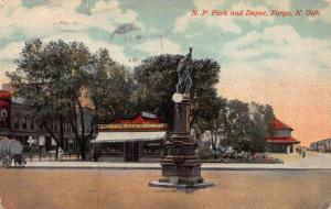N.P. Park and Depot, Fargo, North Dakota, Early Postcard, Used in 1917