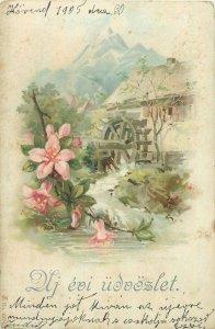 Greetings 1900s postcard hungary Dlj eoi udvozlet