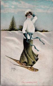 Pretty Woman 'The Canadian Girl' Snowshoeing Snow Alfred Bell Art Postcard E24