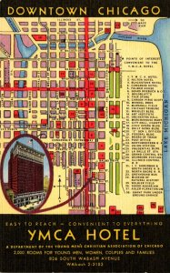 Illinois Chicago Downtown Y M C A Hotel With Map Curteich