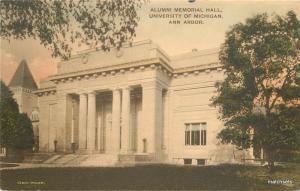 C-1910 hand colored Ann Arbor Michigan Alumni Memorial Hall Wahr postcard 6454
