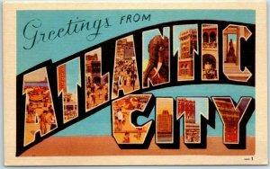 Vintage ATLANTIC CITY Large Letter Postcard Multi-View DEXTER Linen 1940s Unused