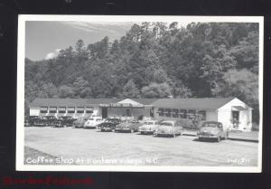 RPPC VONTANA VILLAGE NORTH CAROLINA 1950's CARS VINTAGE REAL PHOTO POSTCARD