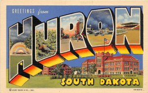 F70/ Huron South Dakota 1954 Linen Large Letter Greetings Postcard