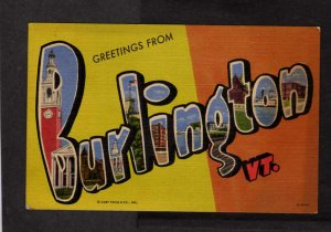 VT Greetings From Burlington Vermont Lg Large Letter Linen Postcard Curt Teich