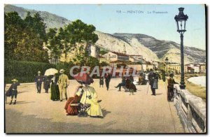 Old Postcard Menton The Promenade