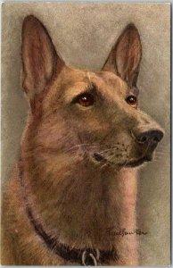 Vintage DOG Greetings Postcard ALSATIAN WOLFHOUND Artist-Signed / Switzerland