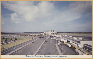 Seattle, Wash., Seattle, Tacoma international Airport - 1940's buses & Taxies