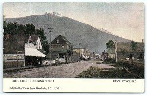 VTG Postcard Revelstoke British Columbia Canada Storefront Street Veiw 1910 A4