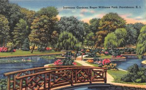Japanese Gardens, Roger Williams Park, Providence R.I., Early Linen Postcard