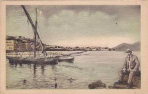 Boats in harbor , Brindisi , ITALY , PU-1910; ADV for Hazel Oilive Oil on back