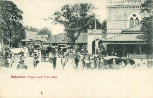 PC CPA SRI LANKA, CEYLON, COLOMBO, PETTAH AND TOWN HALL, Postcard (b13680)