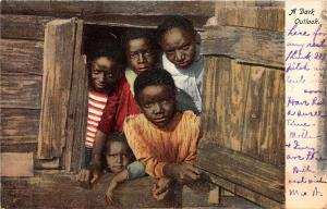 F37/ Black Americana Postcard c1910 A Dark Outlook Kids Cabin 5