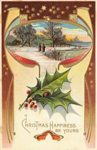 Victorian Christmas~Brown to Peach Art Nouveau Vignette~Winter Scene~Gold Leaf