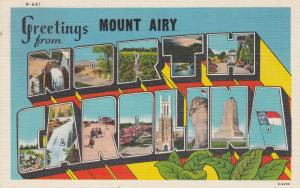 Large Letter Greetings NORTH CAROLINA w/ Mount Airy Overprint, 1930-40s