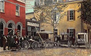 Newport PA 1st Market Barber Shop Jewelry Store Wagons Merchants 1910 Postcard