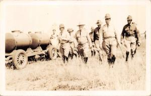 GROUP U.S. ARMY OFFICERS & TANKER TRUCK-MILITARY REAL PHOTO POSTCARD 1930s