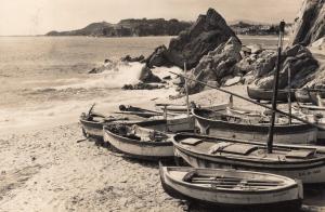 Lloret De Mar Fishing Boats at Beach Edge Antique Real Photo Postcard