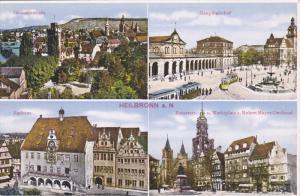 HEILBRONN, Baden-Wurttemberg, Germany, 1900-1910's; Rathaus, Hauptbahnhof, Ge...